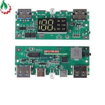 Box sạc dự phòng 10 cell 18650 sạc nhanh QC3.0 22.5W (Không pin)